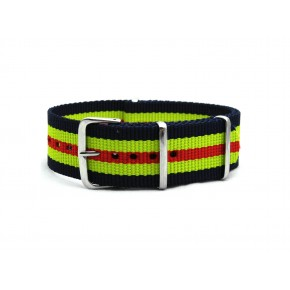 HNS Navy & Yellow & Red Strip Heavy Duty Ballistic Nylon Watch Strap With Polished Stainless Steel Buckle