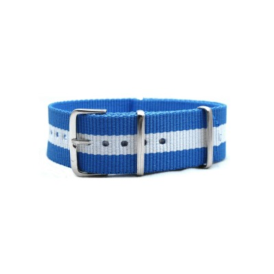 HNS Argentina Flag Light Blue & White Strip Heavy Duty Ballistic Nylon Watch Strap With Polished Stainless Steel Buckle