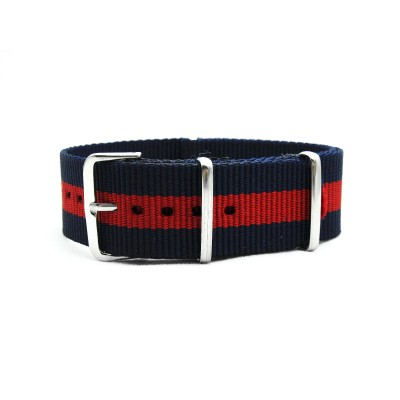 HNS Navy & Red Strip Heavy Duty Ballistic Nylon Watch Strap With Polished Stainless Steel Buckle