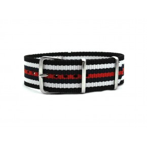 HNS Black & White & Navy & Red Strip Heavy Duty Ballistic Nylon Watch Strap With Polished Stainless Steel Buckle