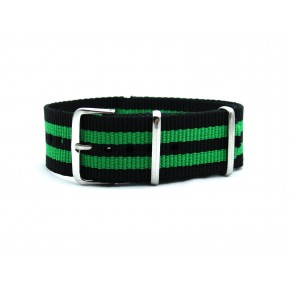 HNS Black & Green Strip Heavy Duty Ballistic Nylon Watch Strap With Polished Stainless Steel Buckle