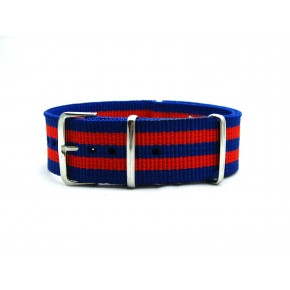 HNS Blue & Red Strip Heavy Duty Ballistic Nylon Watch Strap With Polished Stainless Steel Buckle