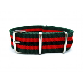 HNS Green & Red & Black Strip Heavy Duty Ballistic Nylon Watch Strap With Polished Stainless Steel Buckle