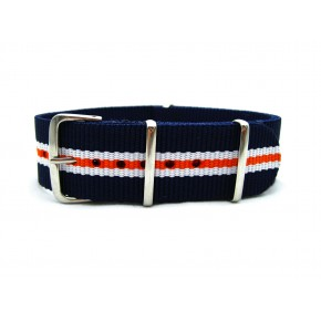 HNS Navy & White & Orange Strip Heavy Duty Ballistic Nylon Watch Strap With Polished Stainless Steel Buckle