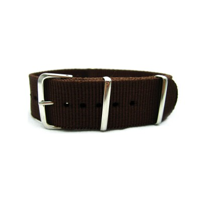 HNS Dark Brown Heavy Duty Ballistic Nylon Watch Strap With Polished Stainless Steel Buckle