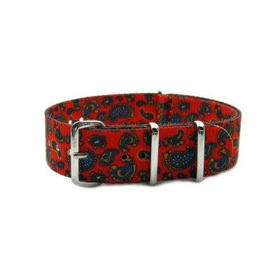 HNS Double Graphic Printed Vintage Paisley Pattern Heavy Duty Ballistic Nylon Watch Strap With Polished Stainless Steel Buckle