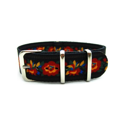 HNS Double Graphic Printed Flowers Patter Black BG Heavy Duty Ballistic Nylon Watch Strap With Polished Stainless Steel Buckle