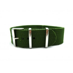 HNS Olive Heavy Duty Ballistic Nylon Watch Strap With Polished Stainless Steel Buckle