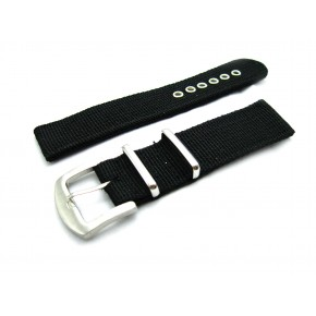 HNS Black Heavy Duty Ballistic Nylon Army Watch Strap With Matt Stainless Steel Buckle