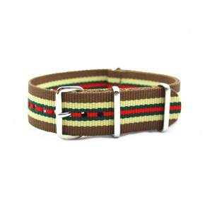 HNS Brown & Green & Red Strip Heavy Duty Ballistic Nylon Watch Strap With Polished Stainless Steel Buckle