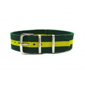 HNS Brazil Flag Green & Yellow Strip Nylon Watch Strap With Polished Stainless Steel Buckle