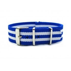 HNS Blue & White Strip Nylon Watch Strap With Polished Stainless Steel Buckle