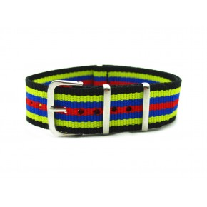 HNS Black & Yellow & Blue & Red Strip Nylon Watch Strap With Polished Stainless Steel Buckle