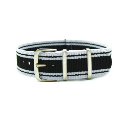 HNS White & Black Jeans Style Strip Nylon Watch Strap With Polished Stainless Steel Buckle