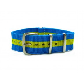 HNS Blue & Yellow Green Strip Nylon Watch Strap With Polished Stainless Steel Buckle