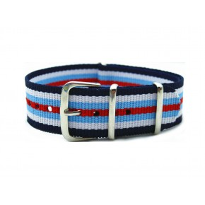 HNS Blue & White & Red Strip Nylon Watch Strap With Polished Stainless Steel Buckle