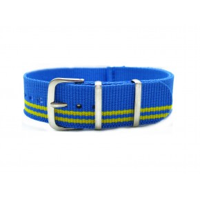 HNS Sky Blue & Green Strip Nylon Watch Strap With Polished Stainless Steel Buckle