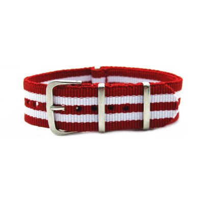 HNS Red & White Strip Nylon Watch Strap With Polished Stainless Steel Buckle