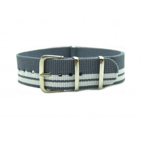 HNS Grey & White Strip Nylon Watch Strap With Polished Stainless Steel Buckle