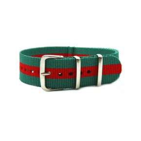 HNS Green & Red Strip Nylon Watch Strap With Polished Stainless Steel Buckle