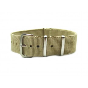 HNS Khaki Nylon Watch Strap With Polished Stainless Steel Buckle