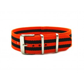HNS Orange & Black Strip Nylon Watch Strap With Polished Stainless Steel Buckle