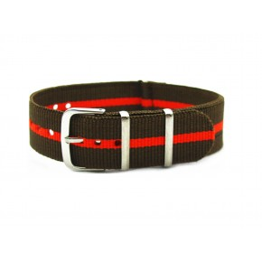 HNS Brown & Red Strip Nylon Watch Strap With Polished Stainless Steel Buckle