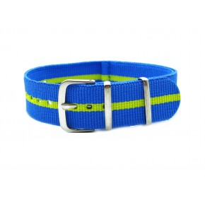 HNS Blue & Green Strip Nylon Watch Strap With Polished Stainless Steel Buckle