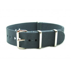 HNS Dark Grey Heavy Duty Ballistic Nylon Watch Strap With Polished Stainless Steel Buckle