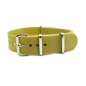 HNS Light Khaki Heavy Duty Ballistic Nylon Watch Strap With Polished Stainless Steel Buckle