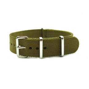 HNS Dark Khaki Heavy Duty Ballistic Nylon Watch Strap With Polished Stainless Steel Buckle