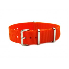 HNS Orange Red Heavy Duty Ballistic Nylon Watch Strap With Polished Stainless Steel Buckle