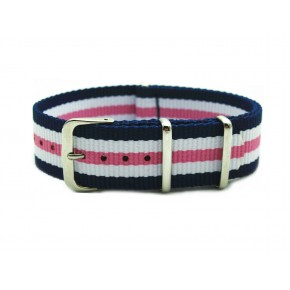 HNS Blue & White & Pink Strip Heavy Duty Ballistic Nylon Watch Strap With Polished Stainless Steel Buckle