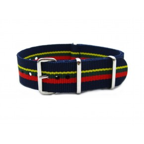 HNS Navy & Yellow & Green & Red Strip Heavy Duty Ballistic Nylon Watch Strap With Polished Stainless Steel Buckle