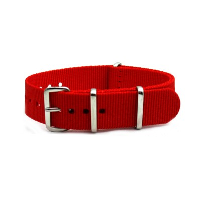 HNS Red Heavy Duty Ballistic Nylon Watch Strap With Polished Stainless Steel Buckle
