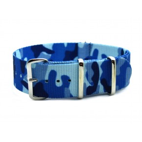HNS Camouflage Navy Heavy Duty Ballistic Nylon Watch Strap With Polished Stainless Steel Buckle