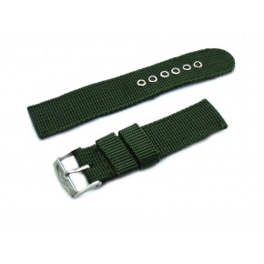 HNS Army Green Heavy Duty Ballistic Nylon Watch Strap With Polished Stainless Steel Buckle