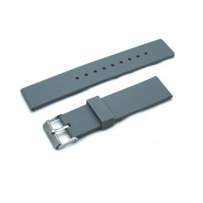 HNS Light Grey Silicone Rubber Waterproof  Watch Strap With Polished Stainless Steel Buckle