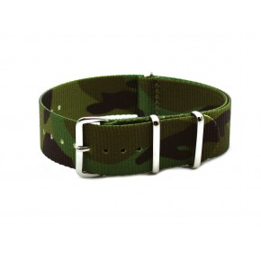 HNS Camouflage Jungle  Heavy Duty Ballistic Nylon Watch Strap With Polished Stainless Steel Buckle