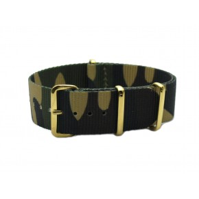 HNS Camouflage Woodland Nylon Watch Strap With Gold Polished Stainless Steel Buckle