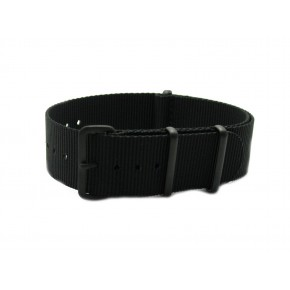 HNS Black Heavy Duty Ballistic Nylon Watch Strap With PVD Matt Coated Stainless Steel Buckle