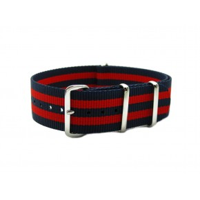 HNS Red & Navy Strip Heavy Duty Ballistic Nylon Watch Strap With Polished Stainless Steel Buckle