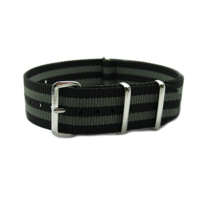 HNS James Bond 007  Black & Grey Heavy Duty Ballistic Nylon Watch Strap With Polished Stainless Steel Buckle