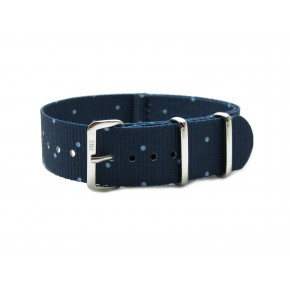 HNS Double Graphic Printed Blue Dots Navy BG Heavy Duty Ballistic Nylon Watch Strap With Polished Stainless Steel Buckle