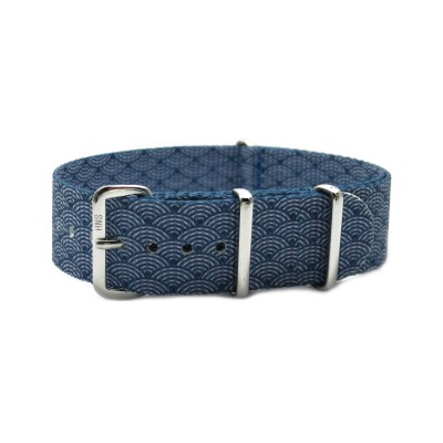 HNS Double Graphic Printed Indigo Sashiko Waves Blue BG Heavy Duty Ballistic Nylon Watch Strap With Polished Stainless Steel Buckle