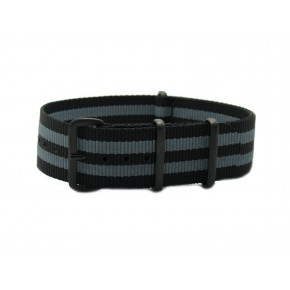 HNS James Bond 007  Black & Grey Heavy Duty Ballistic Nylon Watch Strap With PVD Matt Coated Stainless Steel Buckle