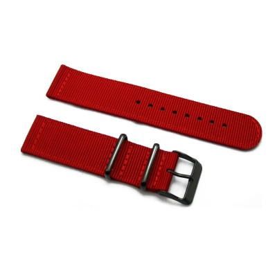 HNS 2 Pieces Red  Heavy Duty Ballistic Nylon Watch Strap With PVD Coated Stainless Steel Buckle