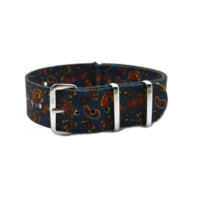 HNS Double Graphic Printed Vintage Navy Paisley Pattern Heavy Duty Ballistic Nylon Watch Strap With Polished Stainless Steel Buckle