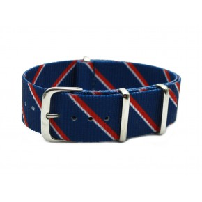 HNS Double Graphic Printed Navy Red White Strip Heavy Duty Ballistic Nylon Watch Strap With Polished Stainless Steel Buckle