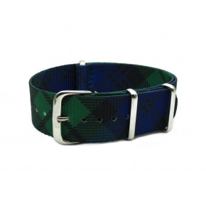 HNS Double Graphic Printed Blue & Green Grid Heavy Duty Ballistic Nylon Watch Strap With Polished Stainless Steel Buckle
